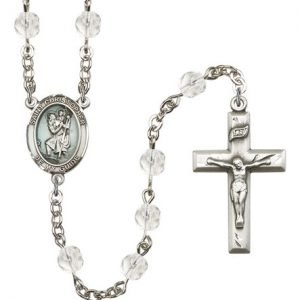 St Christopher Rosary - Crystal Beads (#R15410)