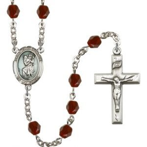 St Christopher Rosary - Garnet Beads (#R15412)