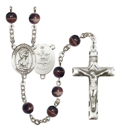 St Christopher-Army Rosary - Brown Beads (#R15527)