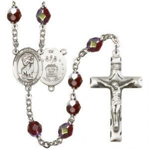 St Christopher-Air Force Rosary - Garnet Aurora Borealis Beads (#R15469)