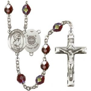 St Christopher-Coast Guard Rosary - Garnet Aurora Borealis Beads (#R15562)