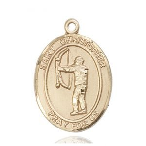 Christopher Archery Medal Large 14 Karat Gold 85812