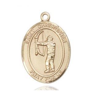 Christopher Archery Medal Large 14 Karat Gold 85812