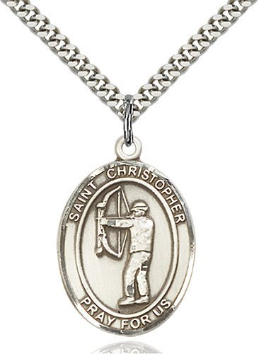 Christopher Archery Medal Large Sterling Silver 85813