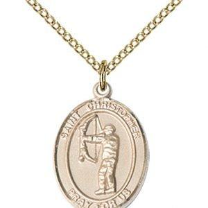 Christopher Archery Medal Medium 14 Karat Gold Filled 86118