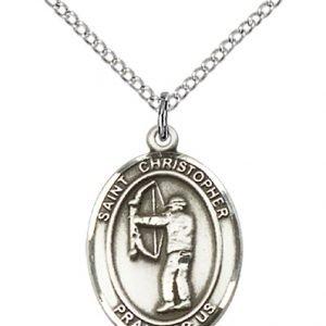 Christopher Archery Medal Medium - Sterling Silver (#86121)