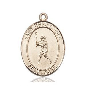 Christopher Baseball Medal Large 14 Karat Gold 85702