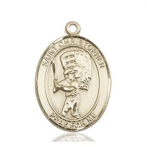 Christopher Baseball Medal Large 14 Karat Gold 85844