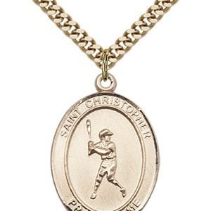 Christopher Baseball Medal Large 14 Karat Gold Filled 85700