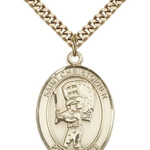 Christopher Baseball Medal Large Gold Filled 85842