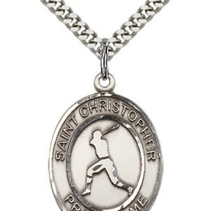 Christopher Baseball Medal Large - Sterling Silver (#85703)