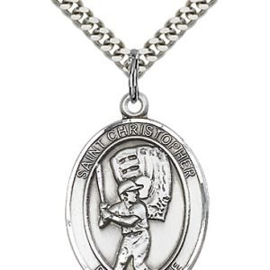 Christopher Baseball Medal Large Sterling Silver 85845