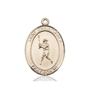 Christopher Baseball Medal Medium 14 Karat Gold 85976