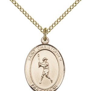 Christopher Baseball Medal Medium - 14 Karat Gold Filled (#85974)