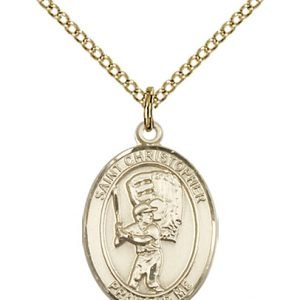 Christopher Baseball Medal Medium - 14 Karat Gold Filled (#86150)