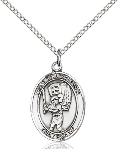 Christopher Baseball Medal Medium - Sterling Silver (#86153)