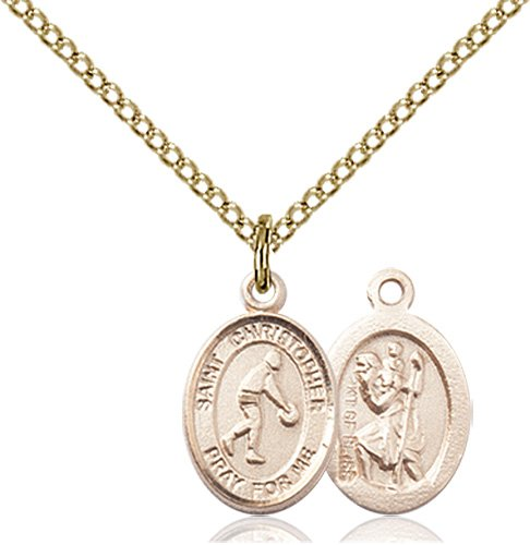 Christopher Basketball Medal Charm 14 Karat Gold Filled 86334
