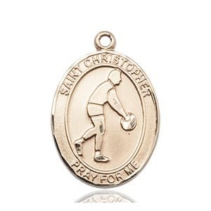 Christopher Basketball Medal Large - 14 Karat Gold (#85710)