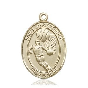 Christopher Basketball Medal Large - 14 Karat Gold (#85848)