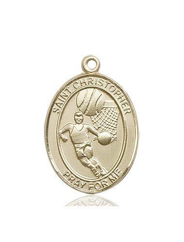 Christopher Basketball Medal Large - 14 Karat Gold (#85848)