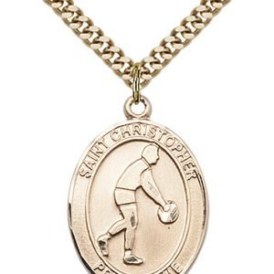 Christopher Basketball Medal Large Gold Filled 85708