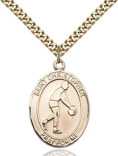 Christopher Basketball Medal Large Gold Filled 85708
