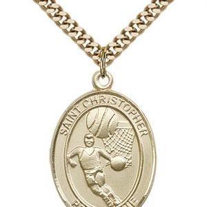 Christopher Basketball Medal Large Gold Filled 85846