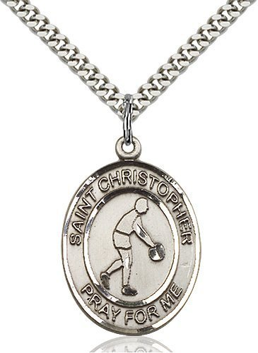 Christopher Basketball Medal Large Sterling Silver 85711