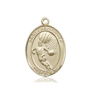 Christopher Basketball Medal Medium 14 Karat Gold 86156