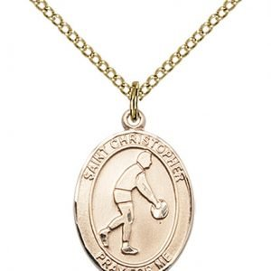 Christopher Basketball Medal Medium 14 Karat Gold Filled 85982