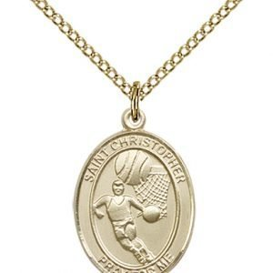 Christopher Basketball Medal Medium - 14 Karat Gold Filled (#86154)