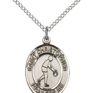 Christopher Basketball Medal Medium - Sterling Silver (#85985)
