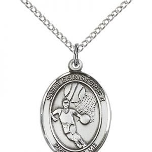 Christopher Basketball Medal Medium Sterling Silver 86157