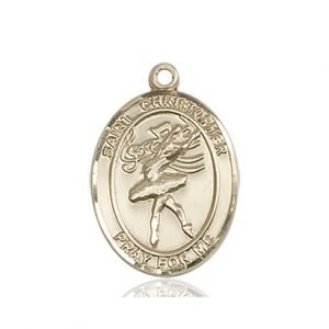 Christopher Dance Medal Medium - 14 Karat Gold (#86196)