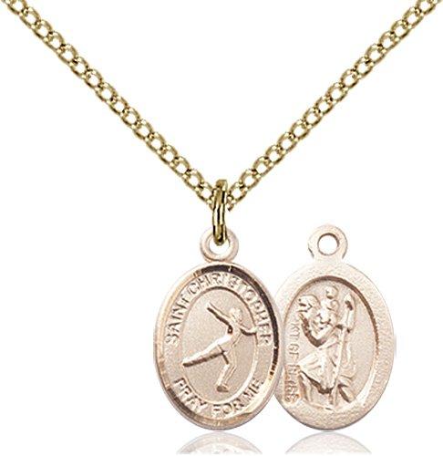 Christopher Figure Skating Medal Charm 14 Karat Gold Filled 86298