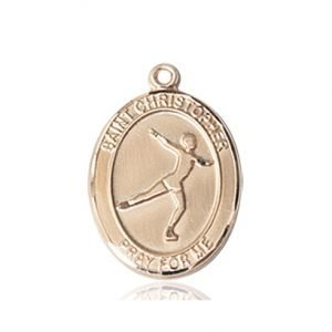 Christopher Figure Skating Medal Medium 14 Karat Gold 85948
