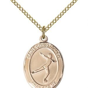 Christopher Figure Skating Medal Medium - 14 Karat Gold Filled (#85946)
