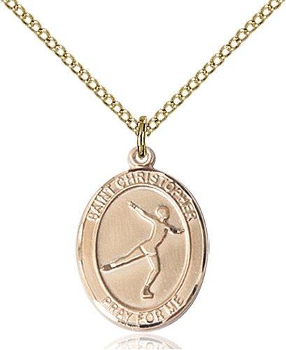 Christopher Figure Skating Medal Medium - 14 Karat Gold Filled (#85946)