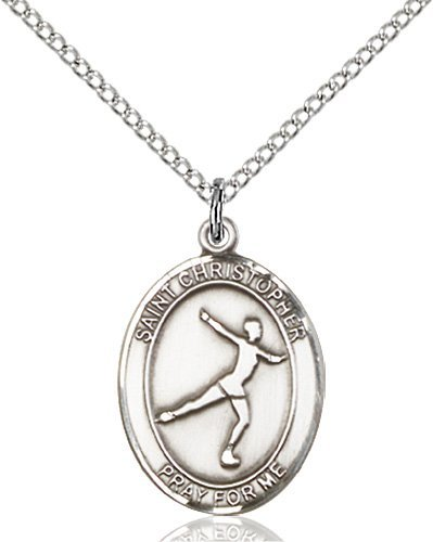 Christopher Figure Skating Medal Medium - Sterling Silver (#85949)