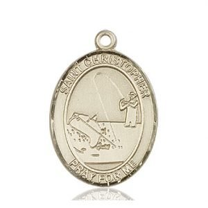 Christopher Fishing Medal Large 14 Karat Gold 85836