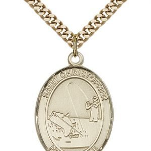 Christopher Fishing Medal Large - 14 Karat Gold Filled (#85834)