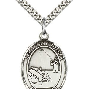Christopher Fishing Medal Large Sterling Silver 85837