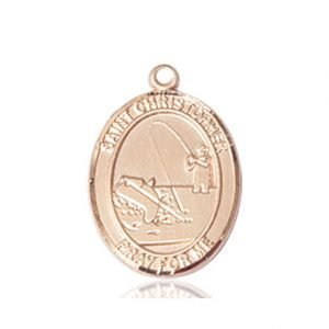 Christopher Fishing Medal Medium - 14 Karat Gold (#86144)