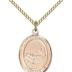Christopher Fishing Medal Medium 14 Karat Gold Filled 86142