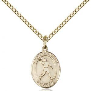 Christopher Football Medal Charm - 14 Karat Gold Filled (#86788)