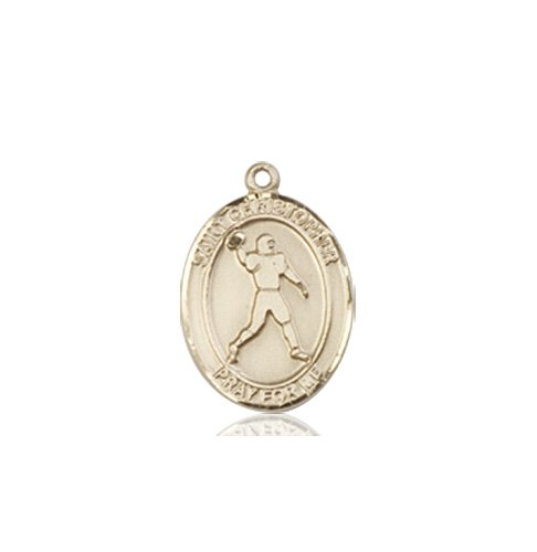 Christopher Football Medal Charm 14 Kt Gold 86790