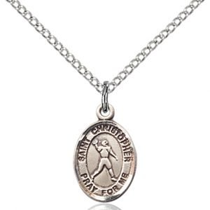 Christopher Football Medal Charm Sterling Silver 86791