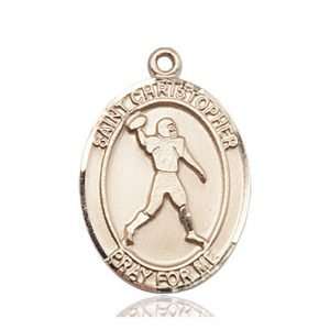 Christopher Football Medal Large 14 Kt Gold 86750