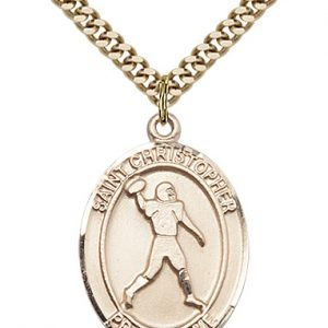 Christopher Football Medal Large Gold Filled 86748