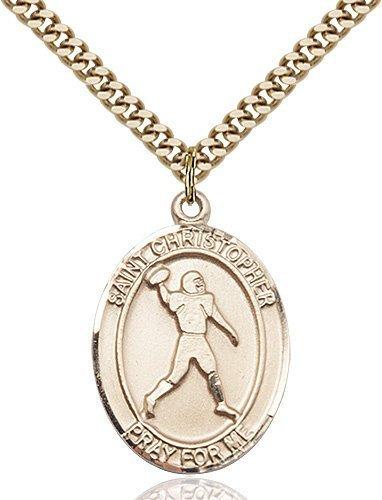 Christopher Football Medal Large Gold Filled 86748